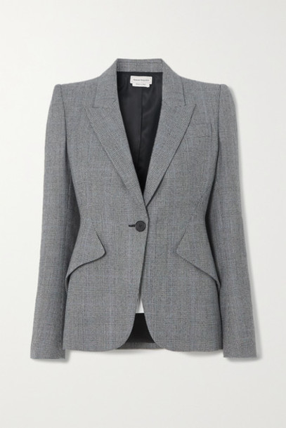 Alexander McQueen - Prince Of Wales Checked Wool And Cashmere-blend Blazer - Gray