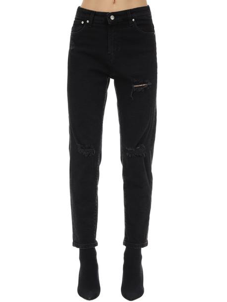 REPRESENT Destroyed Cotton Blend Boyfriend Jeans in black