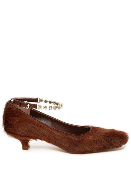 JW Anderson textured kitten-heel pumps in brown