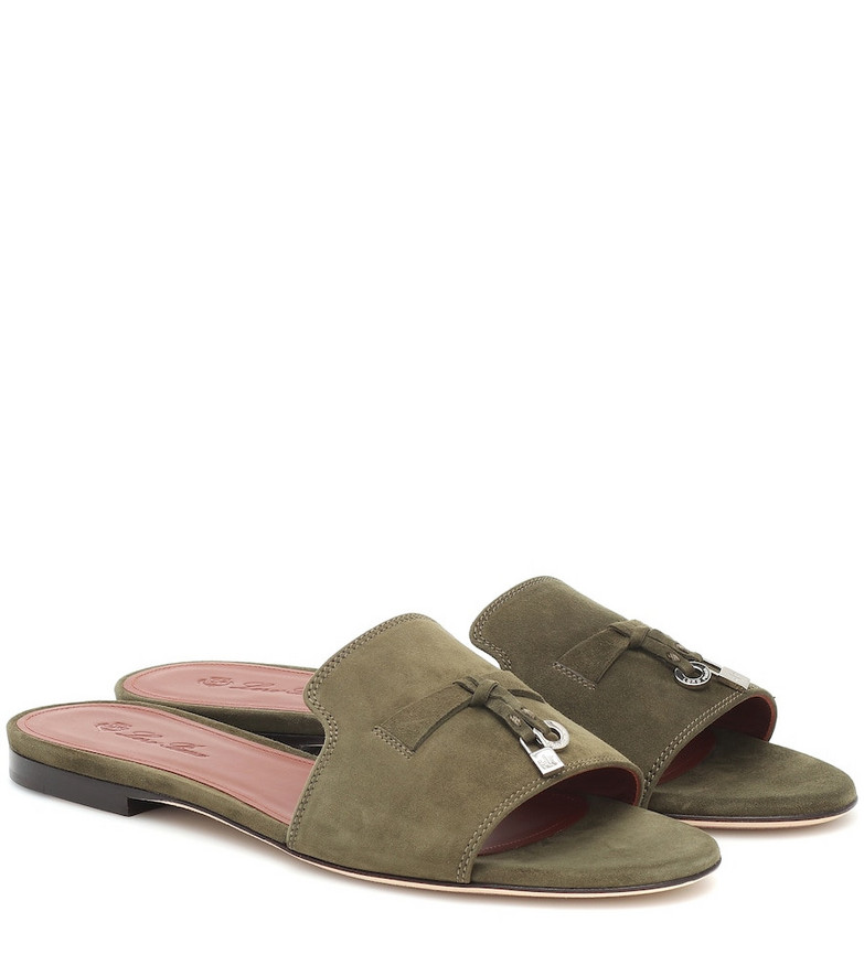 Loro Piana Summer Charms suede sandals in green