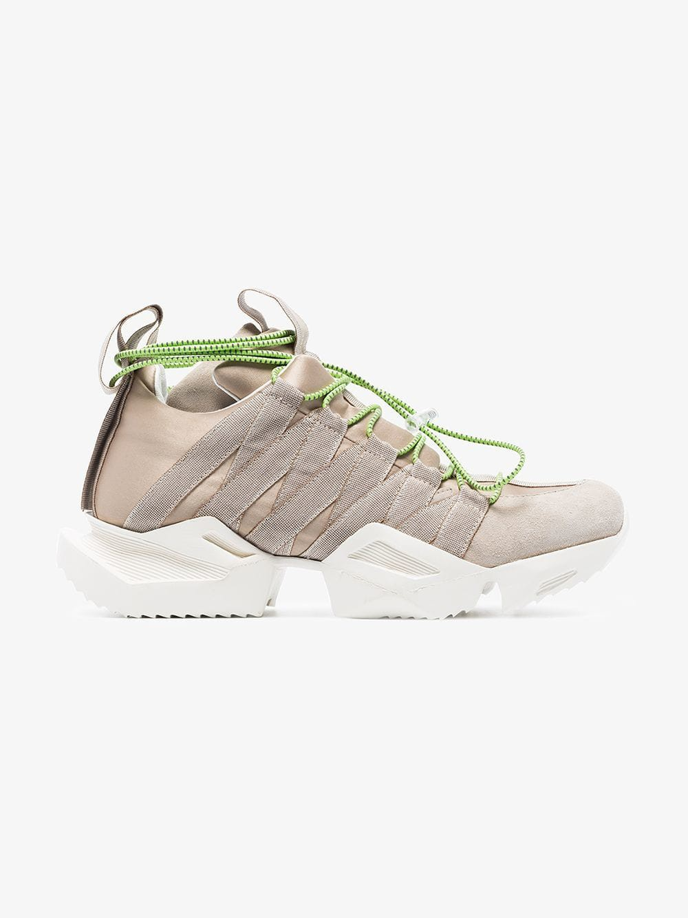 Unravel Project Nude silk and suede chunky sneakers in neutrals