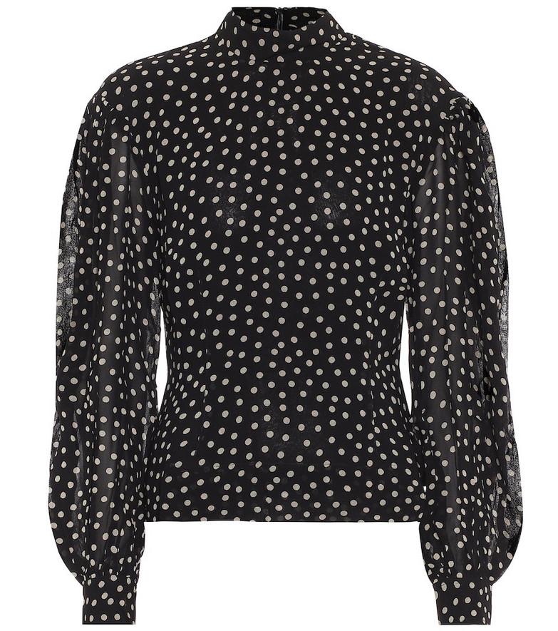 Ganni Polka-dot crêpe blouse in black