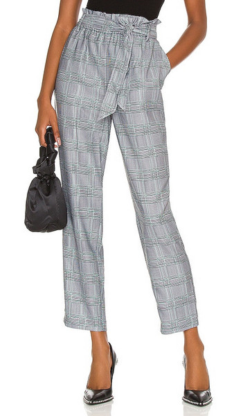 BCBGeneration Woven Tie Waist Pant in Grey in black / green / white
