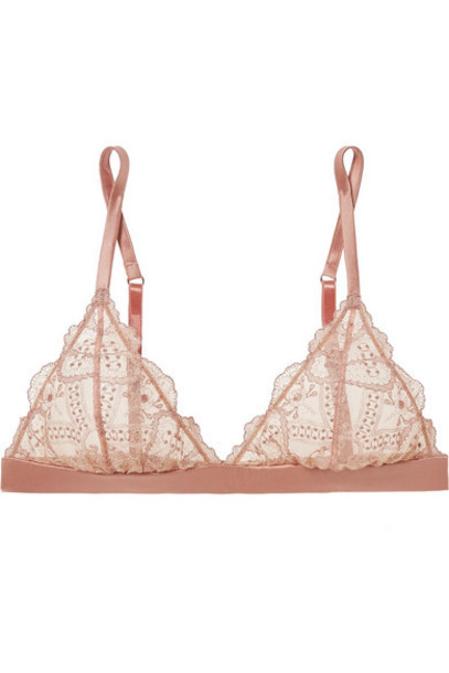 I.D. Sarrieri - Satin-trimmed Embroidered Tulle Soft-cup Triangle Bra - Blush