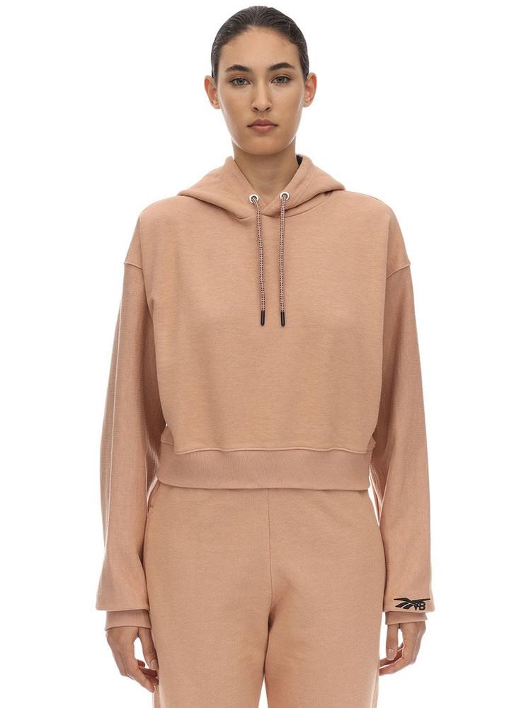 REEBOK X VICTORIA BECKHAM Cropped Cotton Sweatshirt Hoodie in brown