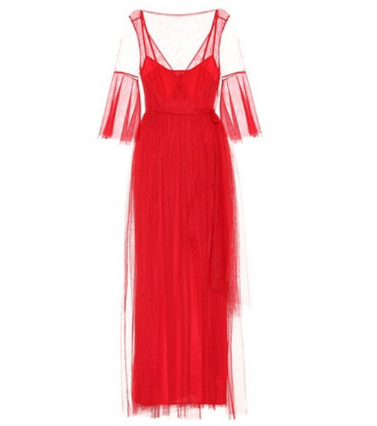 Staud Tulle maxi dress in red