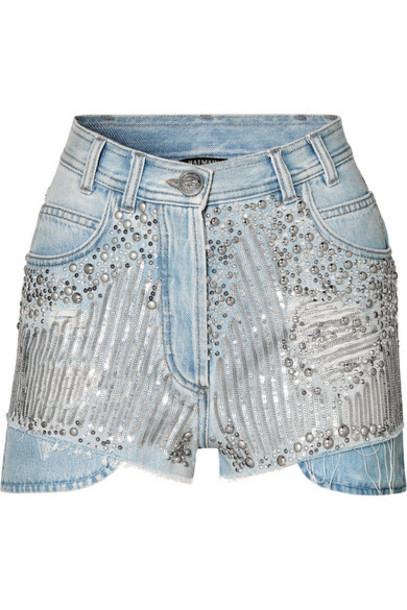 Balmain - Embellished Distressed Denim Shorts - Blue