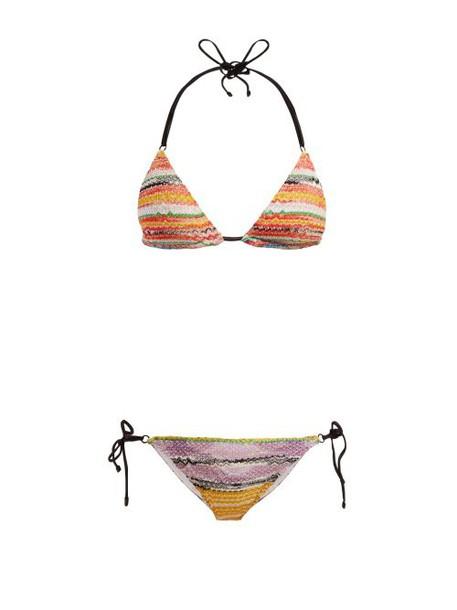 Missoni Mare - Crochet Knit Triangle Bikini Set - Womens - Yellow Multi