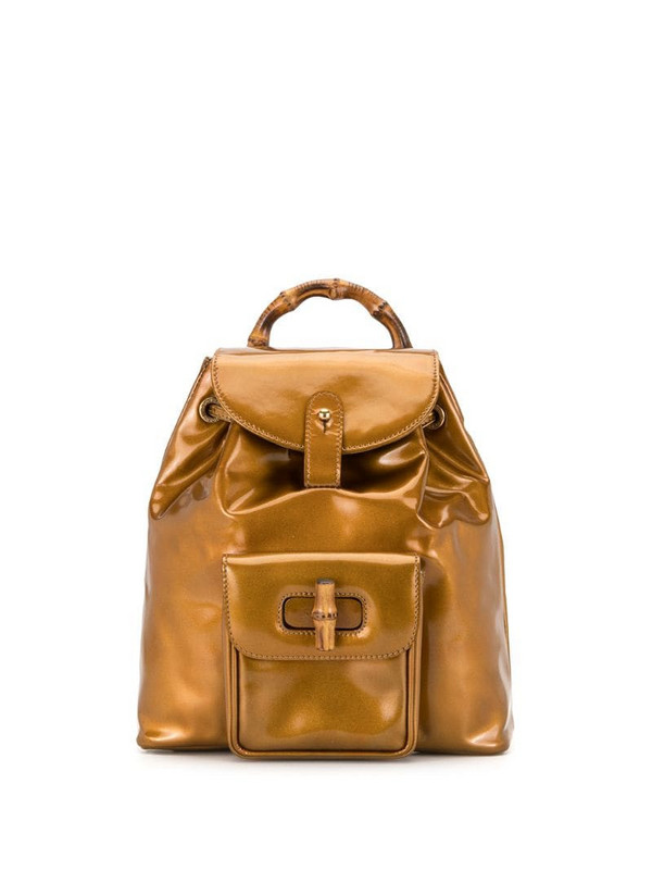 Gucci Pre-Owned Bamboo drawstring flap backpack in gold
