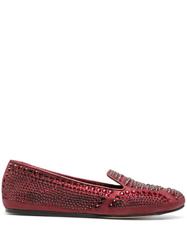 Le Silla Dixie crystal-embellished slippers in red