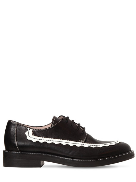ALEXA CHUNG 20mm Ac-30 Leather Derby Shoes in black / white