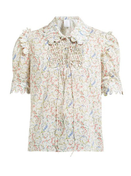 Horror Vacui - Electrina Floral Print Cotton Blouse - Womens - Ivory Multi