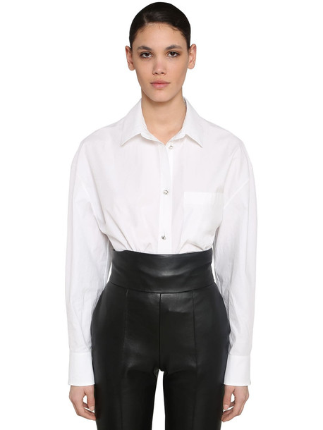 ALEXANDRE VAUTHIER Cotton Poplin Shirt W/jewels Buttons in white