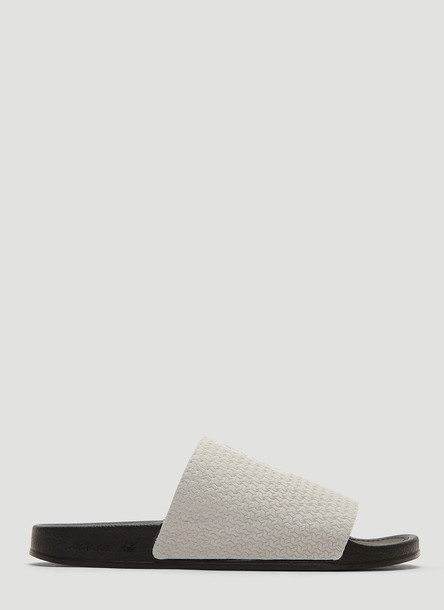 Adidas Adilette Luxe Slides in Grey size UK - 06
