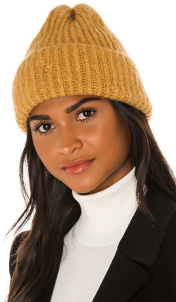 Free People Lullaby Rib Beanie in Tan in camel