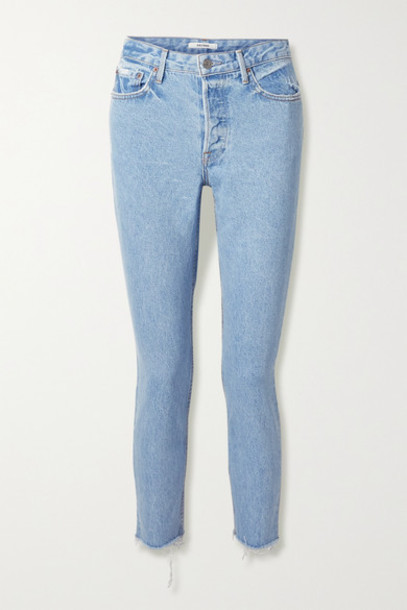 GRLFRND - Karolina Frayed High-rise Skinny Jeans - Light denim