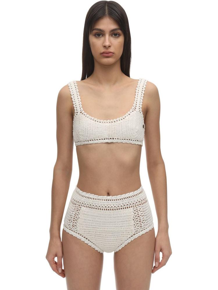 SHE MADE ME Crochet Bikini Top in white