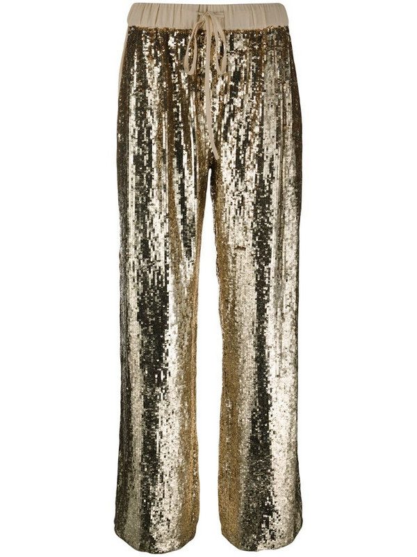 P.A.R.O.S.H. sequin embellished trousers in gold