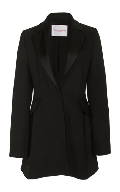 Carolina Herrera Crepe Tuxedo Mini Dress in black