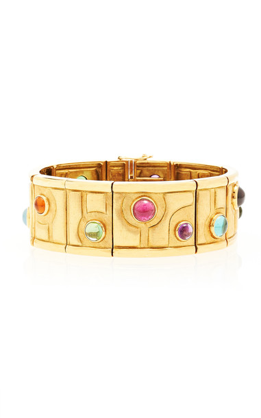 Particulieres Burle Marx Panel Bracelet with Multi Colored Cabochons,