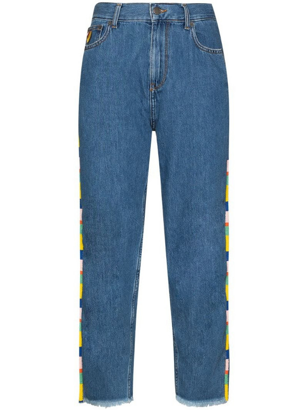 Mira Mikati beaded high-rise straight-leg jeans in blue