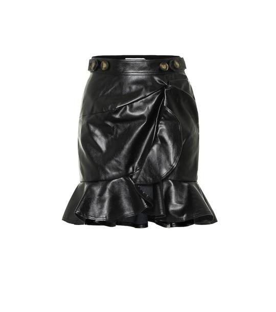 Self-Portrait Faux-leather miniskirt in black