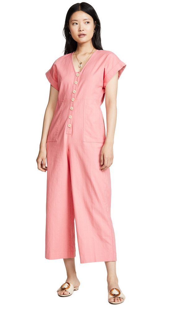 Madewell Button Front Easy Jumpsuit in coral