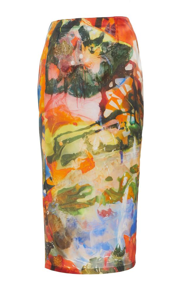 MUGLER Printed Satin Pencil Skirt in print