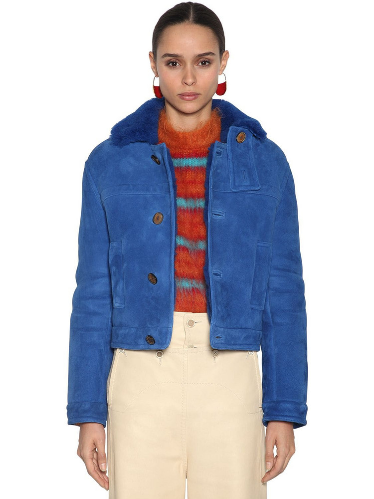 MARNI Shearling Jacket in blue