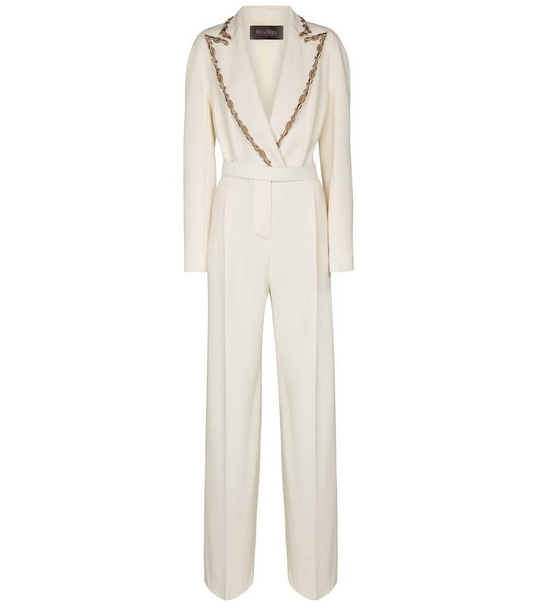 Max Mara Simpaty belted crêpe jumpsuit in white