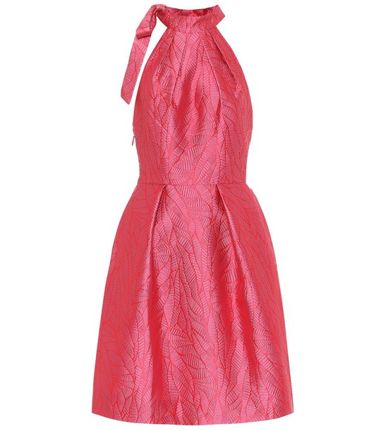 Monique Lhuillier Halterneck brocade dress in pink