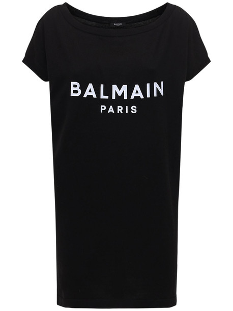 BALMAIN Logo Cotton Knit Short Dress in black / white
