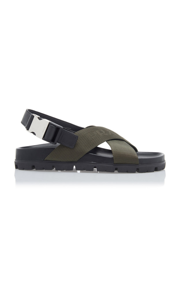 Prada Leather-Trimmed Canvas-Jacquard Sandals Size: 39 in green