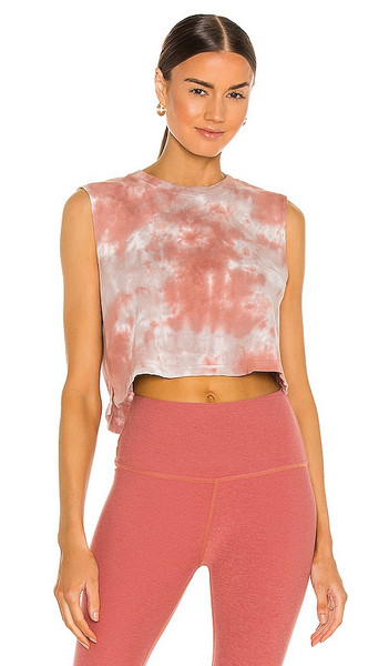 Beyond Yoga Night In Cropped Tank in Mauve in rose