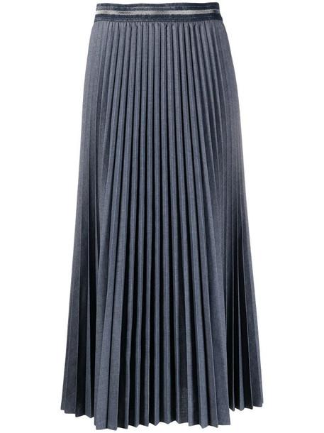 Luisa Cerano pleated midi skirt in grey