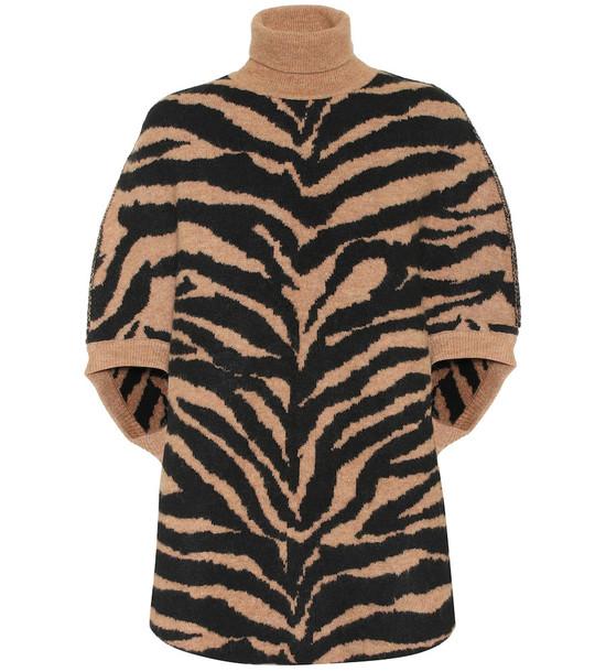 MM6 Maison Margiela Zebra-jacquard turtleneck sweater in beige