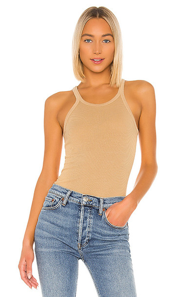 RE/DONE Ribbed Tank in Tan