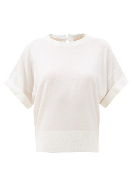 Brunello Cucinelli - Monili Trim Wool-blend Short-sleeved Sweater - Womens - Ivory