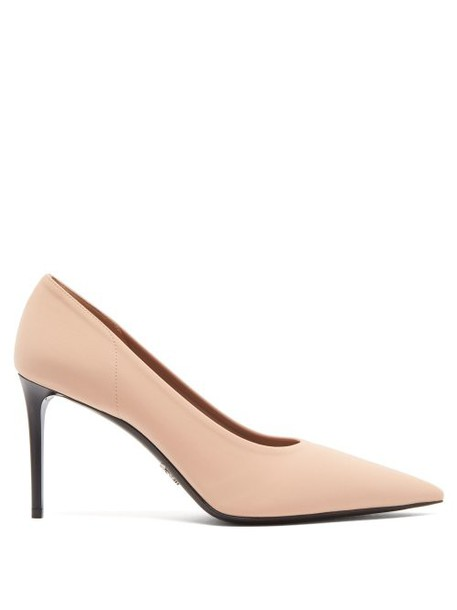 Prada - Point Toe Neoprene Pumps - Womens - Nude