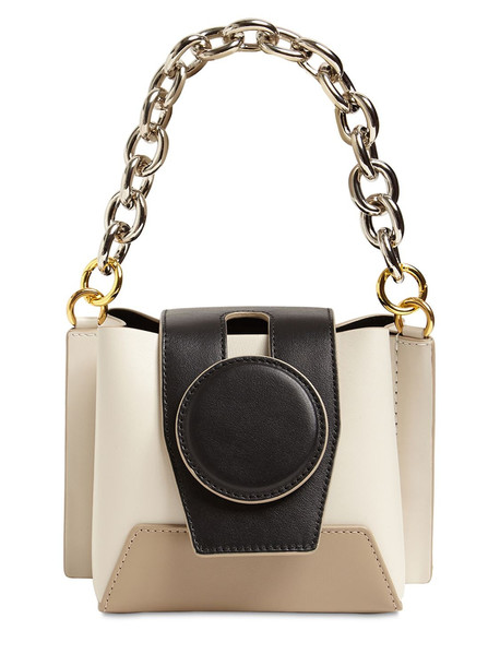 YUZEFI Daria Chain Top Handle Leather Bag in white