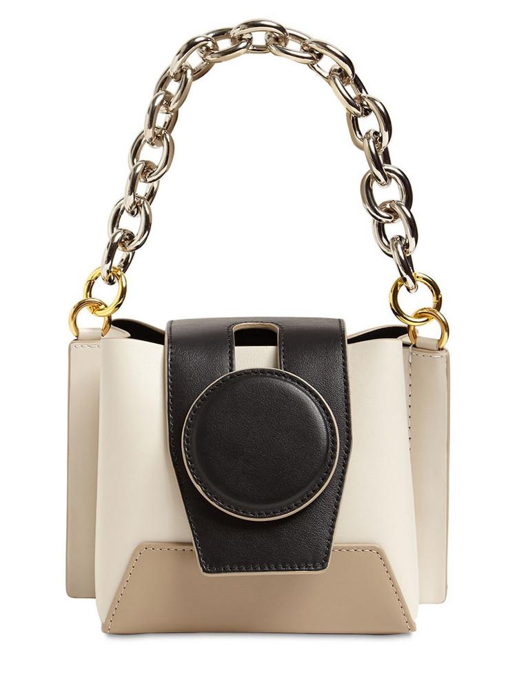 YUZEFI Daria Chain Top Handle Leather Bag in white