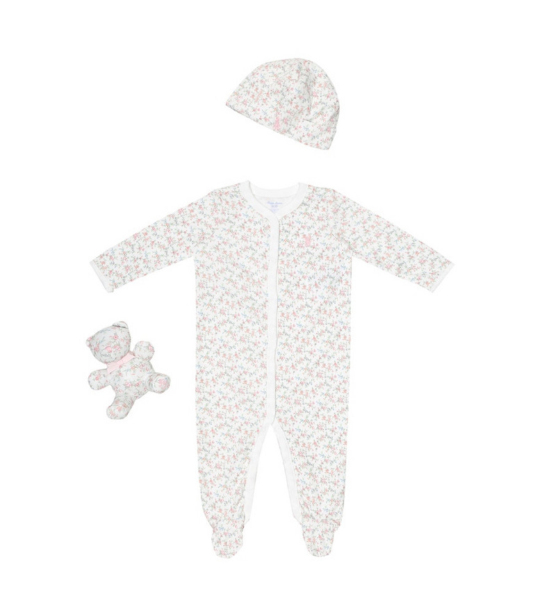 Polo Ralph Lauren Kids Baby floral cotton onesie, hat and soft toy set in white