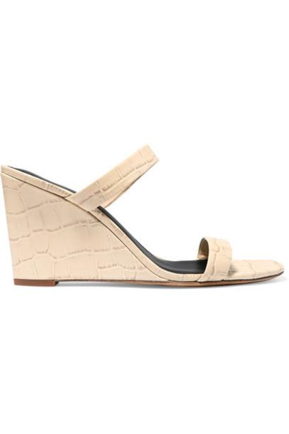 Diane von Furstenberg - Vivienne Croc-effect Leather Mules - Off-white