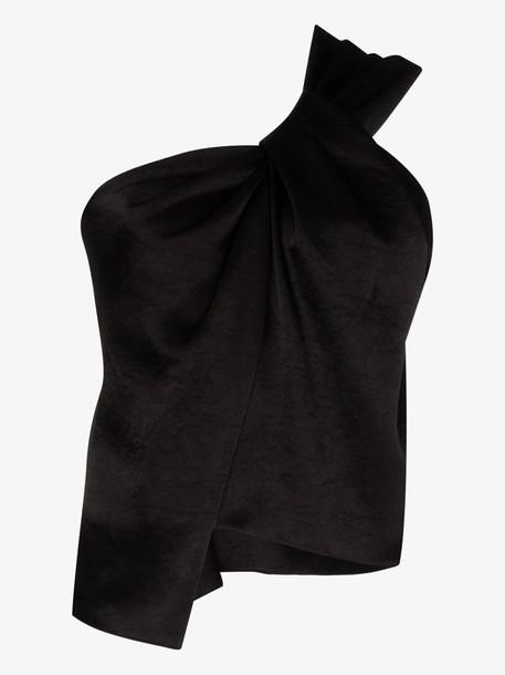Nanushka Manon one shoulder satin top in black