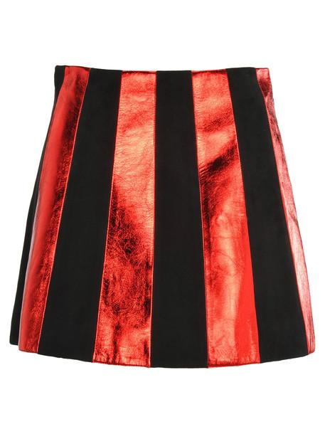 Miu Miu Striped Leather Mini Skirt in black / red
