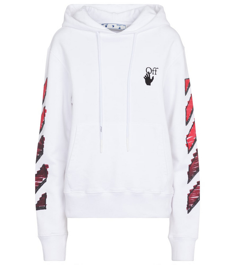 Off-White Marker Arrows cotton jersey hoodie in white
