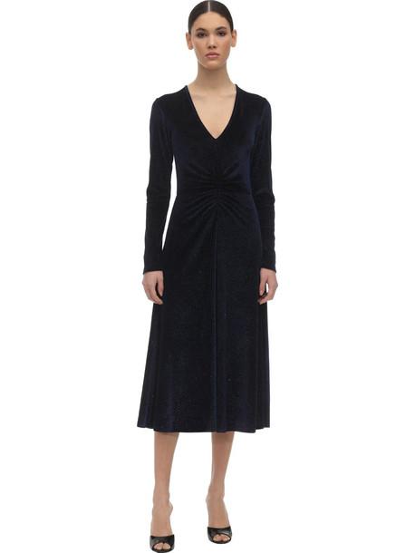 ROTATE Crystal Embellished Velvet Midi Dress in navy