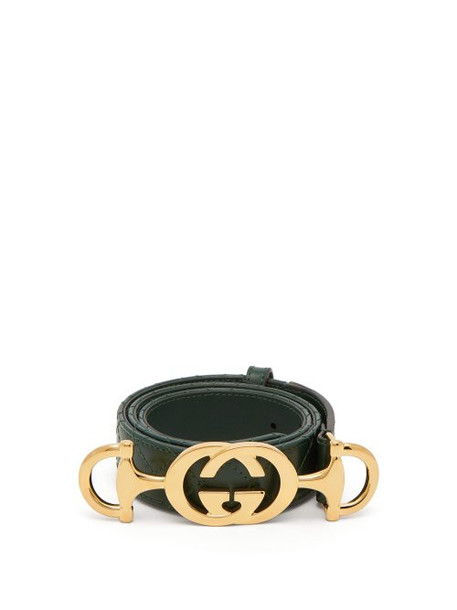 Gucci - Horsebit Buckle Quilted Leather Belt - Womens - Green
