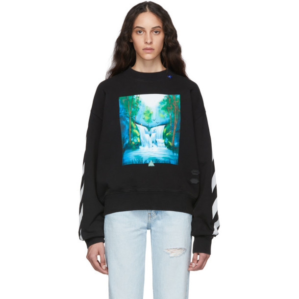 Off-White Black and Multicolor Waterfall Over Sweatshirt