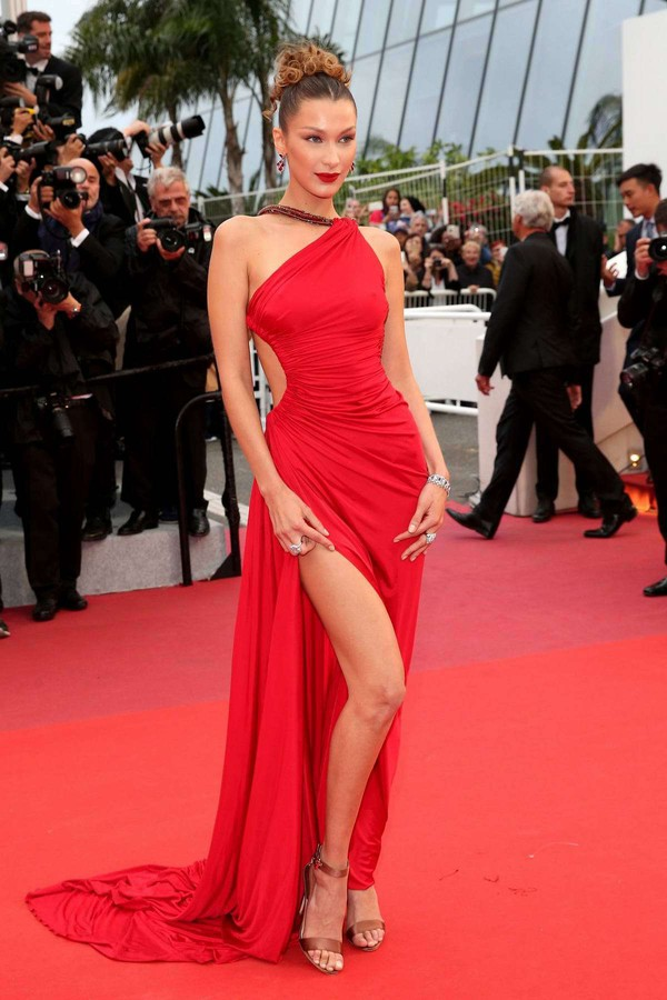 shoes red dress slit dress red carpet dress bella hadid model cannes celebrity asymmetrical asymmetrical dress gown